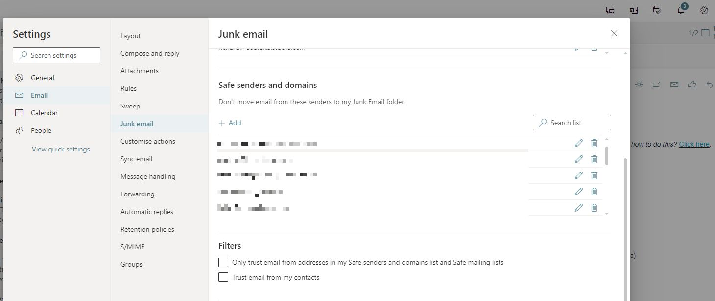 How to whitelist in Outlook